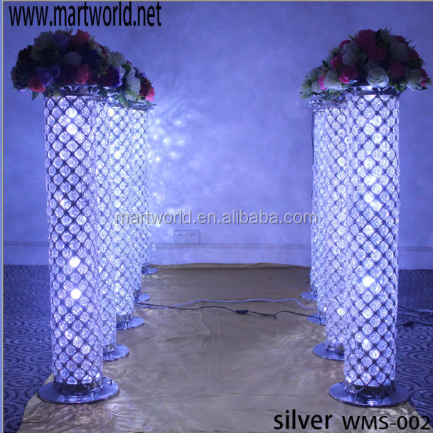 Led Lighting Crystal Pillars For Weddings Stage