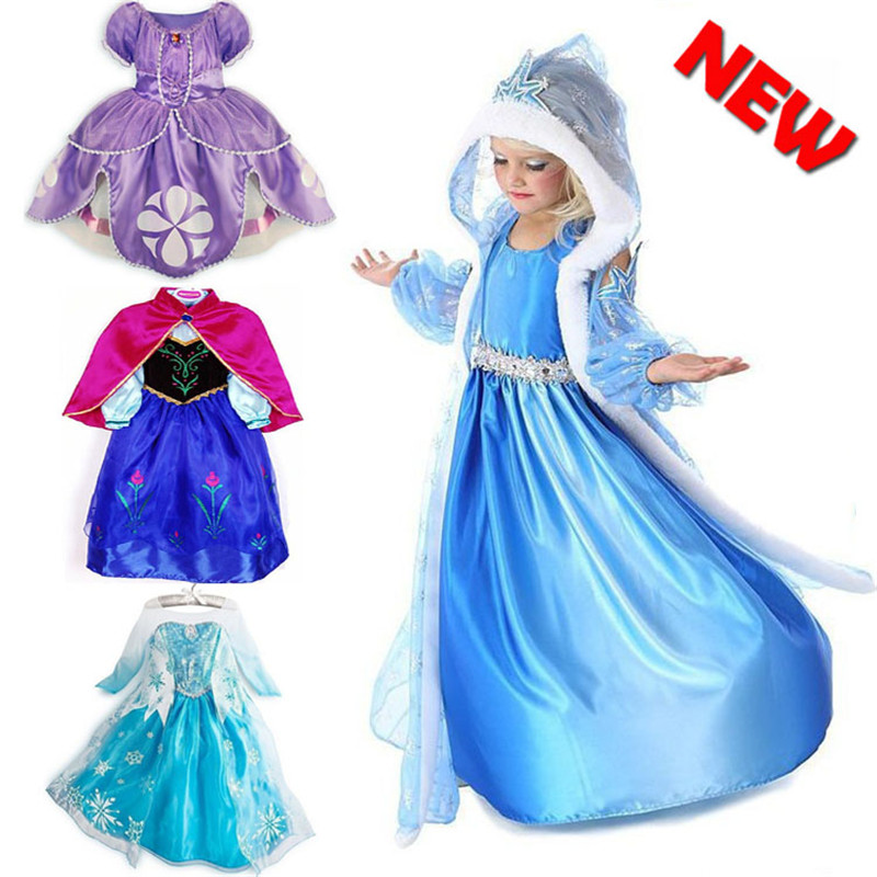 Kids Cosplay Costume Dress Cinderella Elsa Baby Girls: 2016 Baby Girls Dress Elsa Dress Anna Cosplay Costume