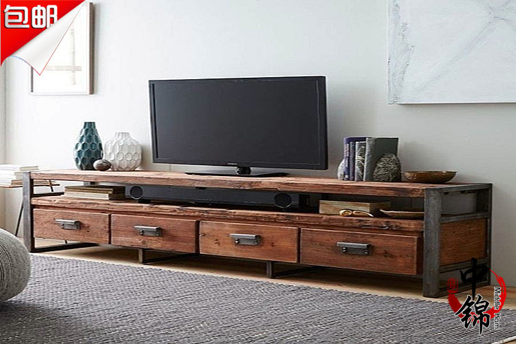 american industrial style loft living room retro to do the old wood tv cabinet combination with. Black Bedroom Furniture Sets. Home Design Ideas