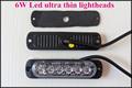 Extra thin 6W Led car grill warning Lights emergency lights led strobe lights lightheads 22flash waterproof