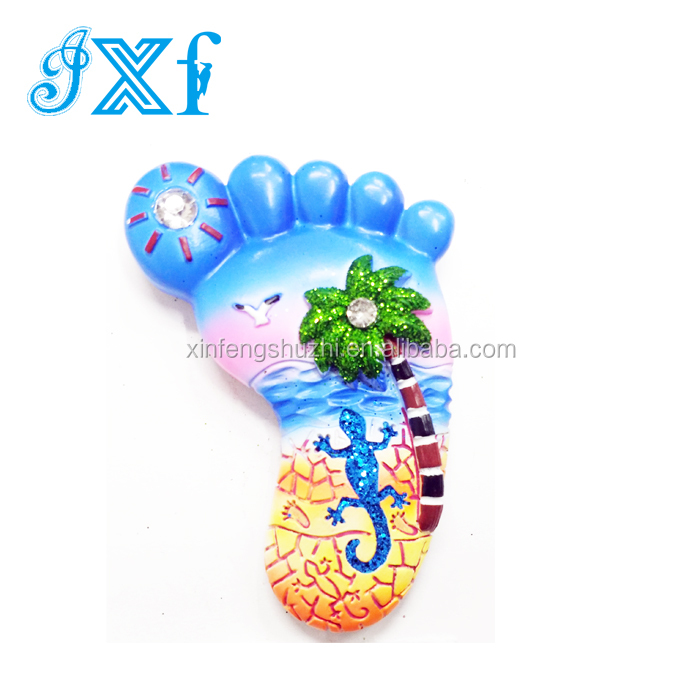 Hand made 3D Footprint Shaped Resin Fridge Magnet Tourist Souvenir Fridge Magnet