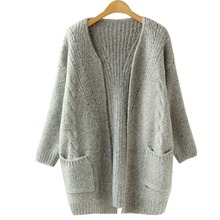2015 Autumn Korean Version Solid Color Pocket Loose Sweater Female Long Sweater Cardigan Sweater