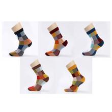 5 пар/лот, мужские Компрессионные носки из чесаного хлопка, Модные Цветные квадратные Носки Happy Dress, мужские носки, размер 39-45(Китай)