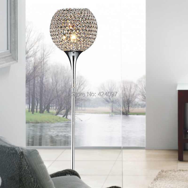 minimalist modern creative k9 crystal decorative floor lamp living room lamp bedroom bedside. Black Bedroom Furniture Sets. Home Design Ideas