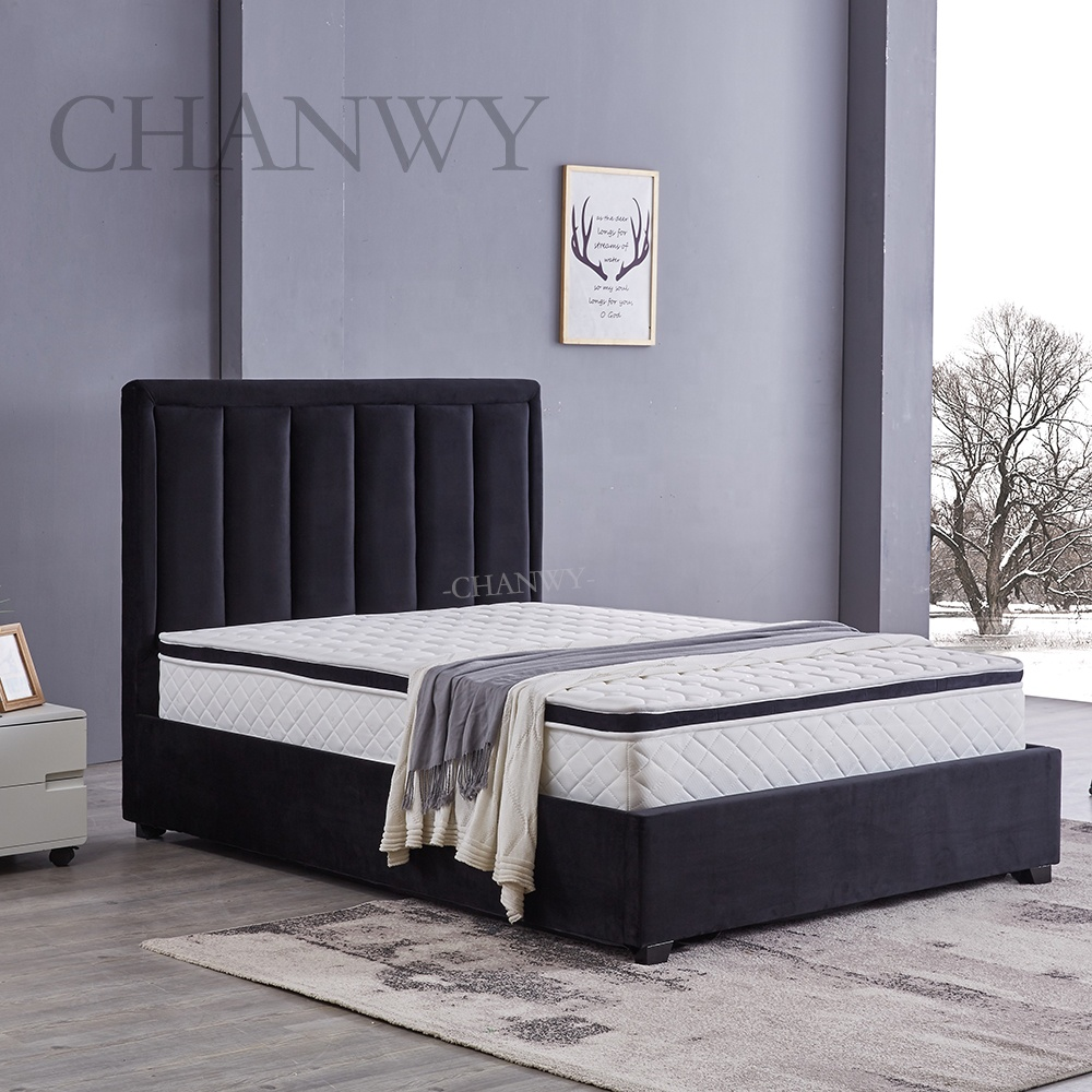 popular new home furniture products black velvet ottoman storage bed frame simple design queen size