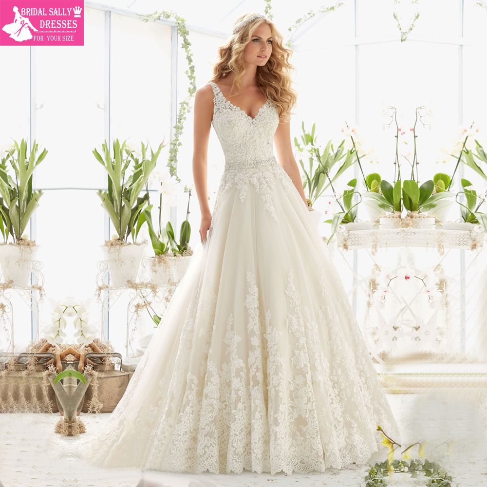 Vintage Style Lace Wedding Dresses: New Design A Line Lace Wedding Dresses 2016 V Neck Beaded