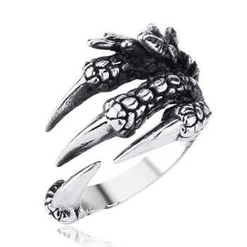 Personality Creative Jewelry Zodiac Men's Stainless Steel Wild Dragon Claw animal Ring