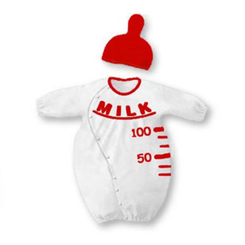 Baby Rompers boy/girl clothing set bebe long sleeve Milk bottle romper+ hat 2pcs/suit kids clothing set Baby Jumpsuit Clothing