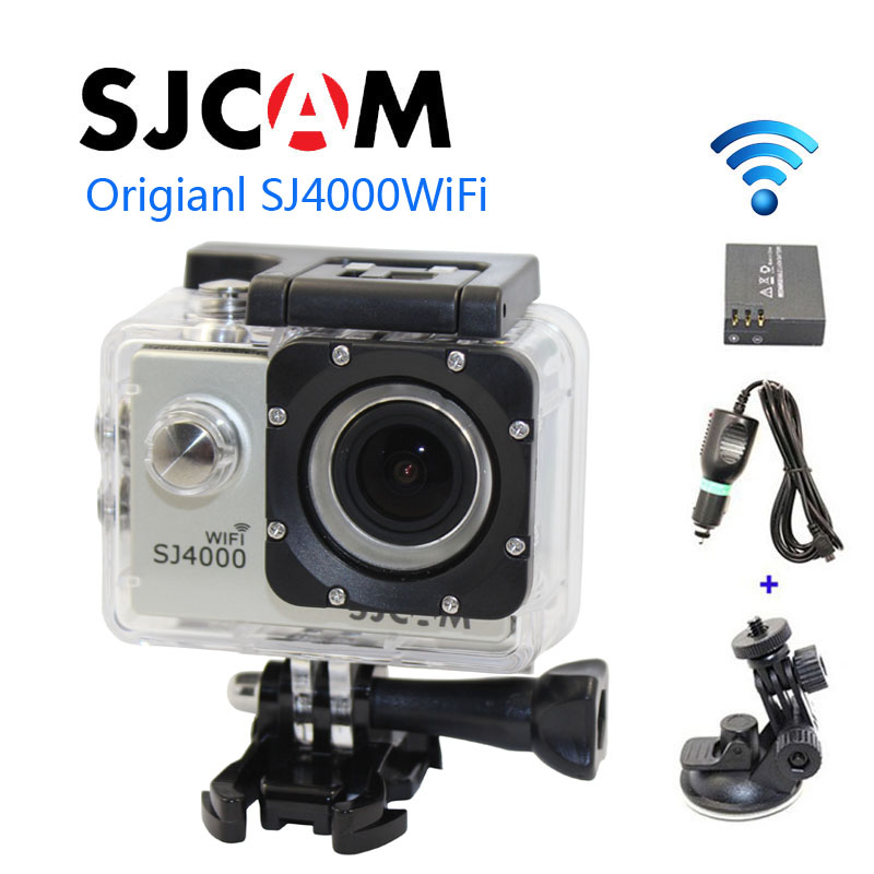 Free shipping!!Original SJ4000 WiFi SJCAM  Sport Action GoPro Style Cam+Car Charger+Holder+Extra 1pcs battery for DV camera