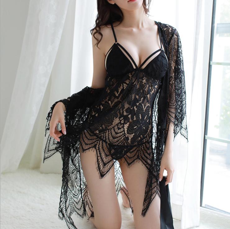 Plus Size Women Sexy-Lingerie Lace Dress G-String Babydoll Sleepwear Chemise Set