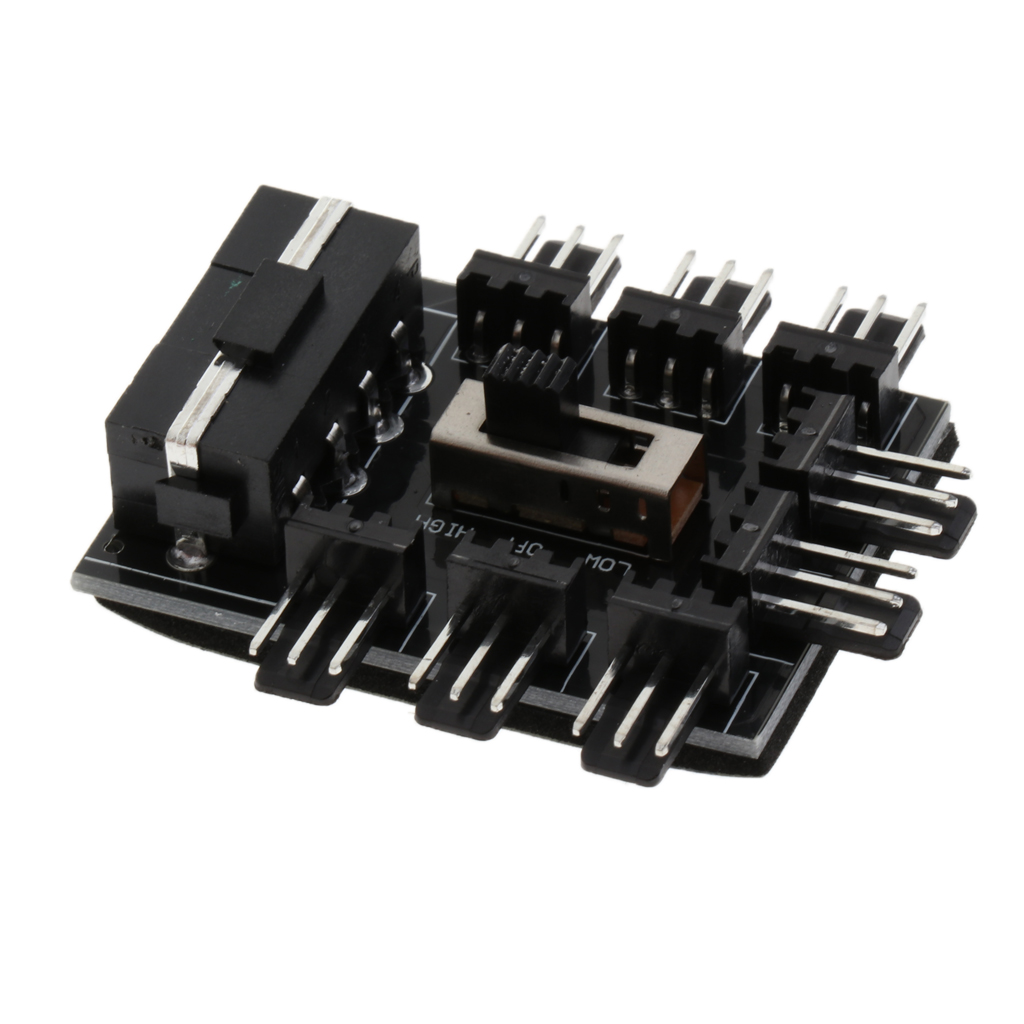 Durable Aluminum 1 to8 Channel Hub IDE Interface Power Splitter For 12V 4Pin Fan