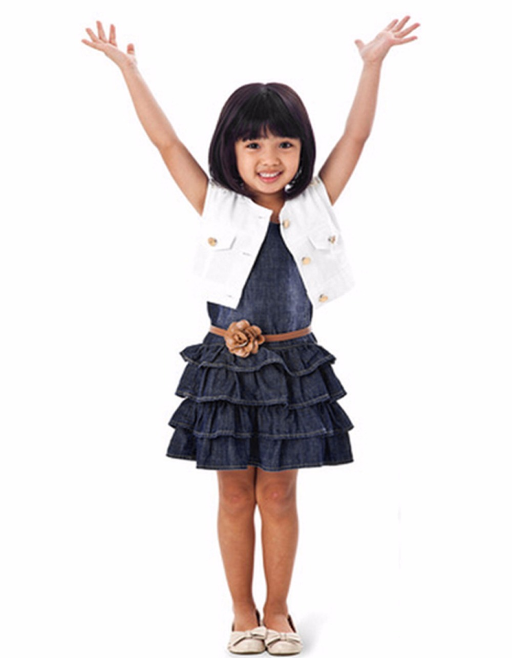 Baby Girl Kids Casual Dress Outfit Clothes Cotton Jacket + Denim Layered Toddler tutu Dress for girls with belt 66