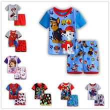 2016 Children s pajamas set baby Girl s summer clothing set Iron man100 cotton Boy s