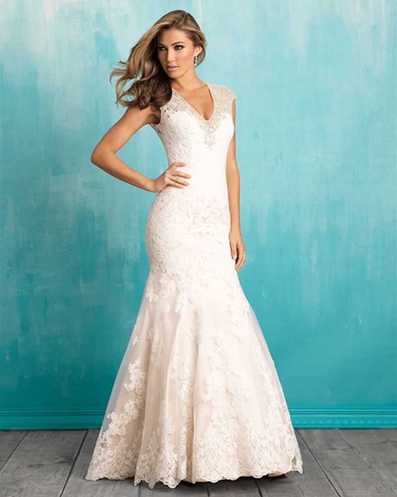 1f0a7c6ebe910 2016 trends peach satin and organza wedding dress v neck lace appliques  beaded crystals mermaid bridal