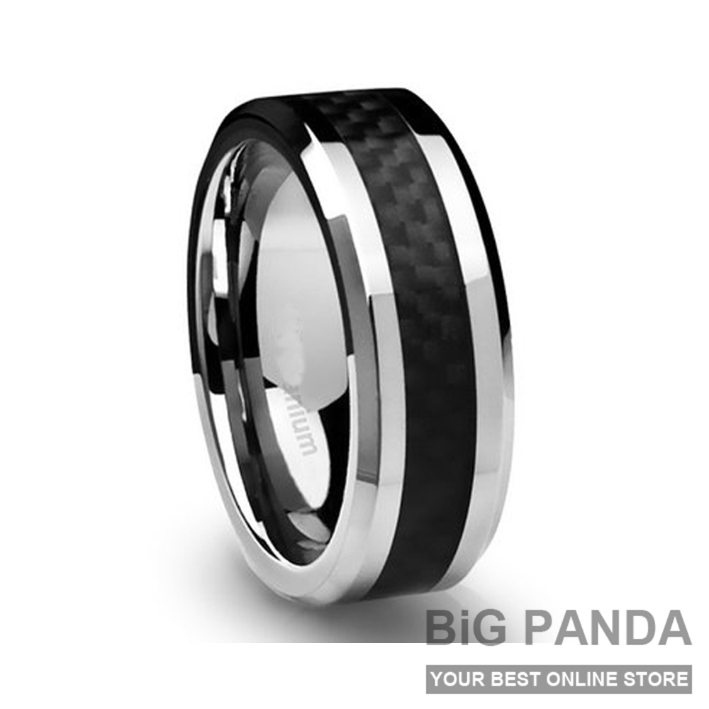 Stainless Steel Mens Wedding Band Ring 8mm: 8MM Men's Titanium Ring Wedding Rings Band 316L Stainless
