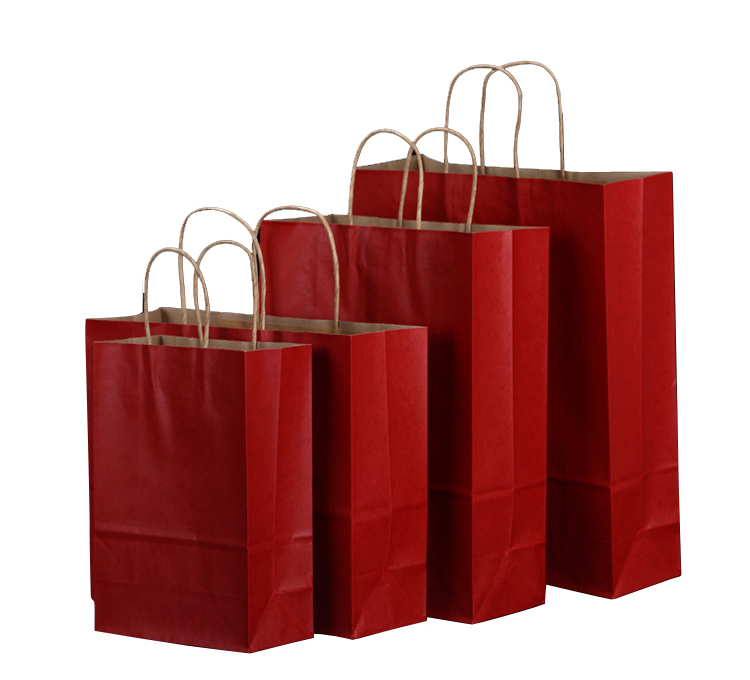 Accept custom print kraft paper bag with handle Recyclable Feature brand paper shopping bag