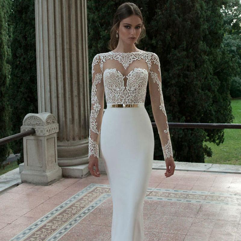 Elegant Silk Wedding Dresses With Sleeves: Aliexpress.com : Buy 2016 Elegant Sexy White Mermaid