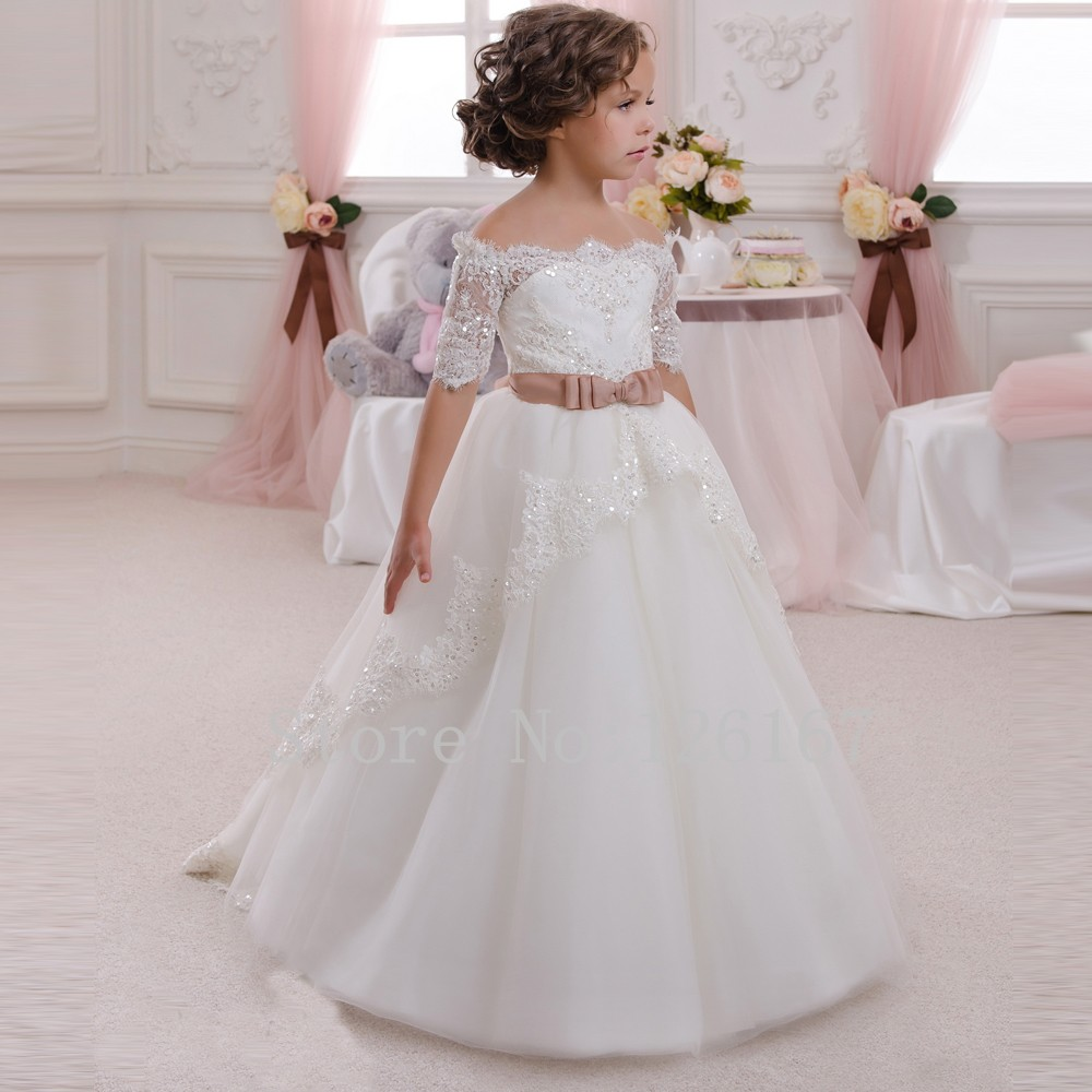 Wedding Flower Girl: Off Shoulder Organza Beaded Flower Girls Dress For