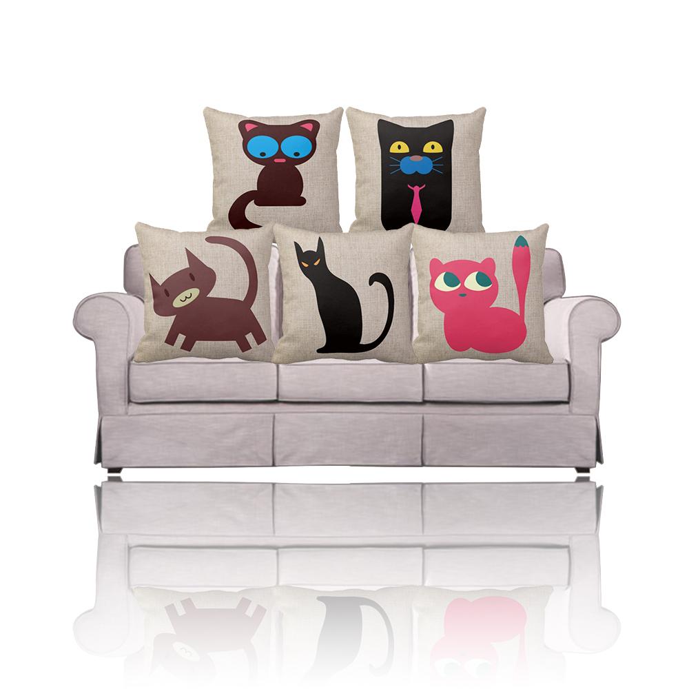 cheap decorative cat pillow case 16x16 18x18 20x20 black pink throw pillow covers 2016 cotton. Black Bedroom Furniture Sets. Home Design Ideas