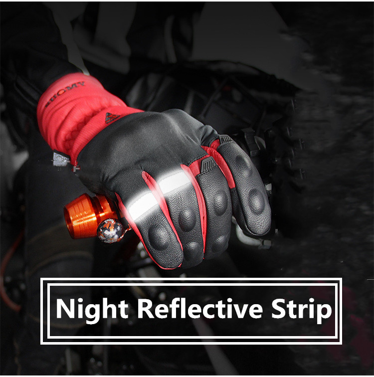 Winter Protection Keeps Warm Motorcycle Gloves Full Finger Night Reflective Strip Racing Gloves