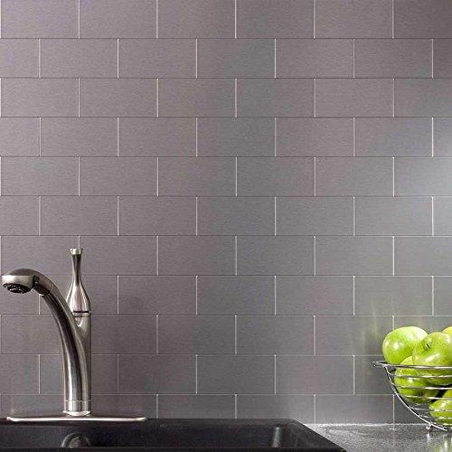 Cheap Peel And Stick Backsplash: Peel And Stick Stainless Steel Backsplash Tiles 3'' X 6