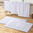 Hot Selling Custom Logo Super Absorbent Non-slip 100% Cotton Hotel 32s Bath Mat