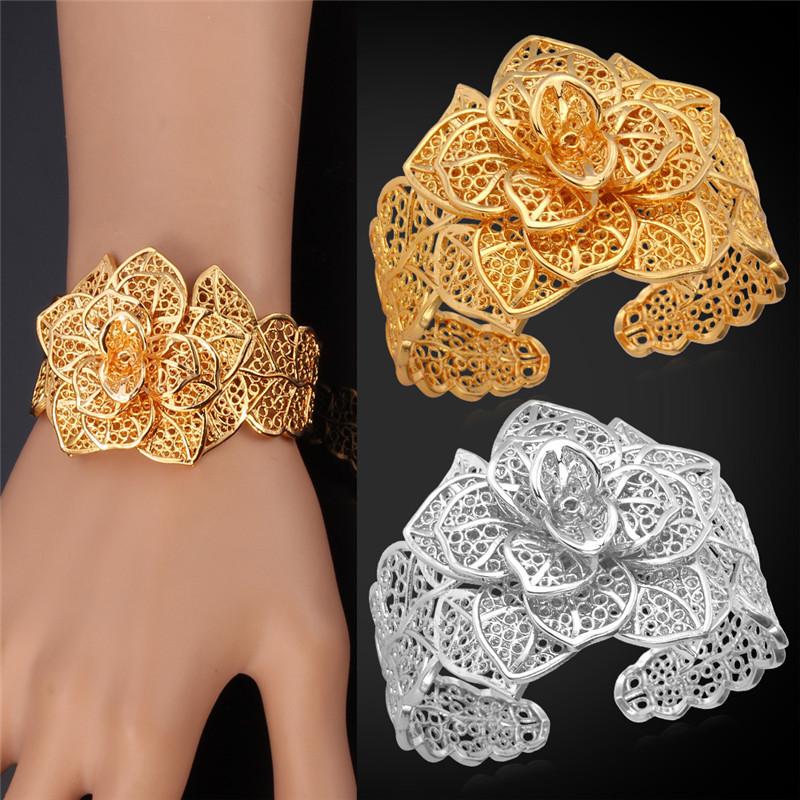 Cuff Bracelets For Women 2017 New Trendy Bangle 18k Real Gold Platinum Plated Flower Luxury Wedding Bangles Bracelet H483
