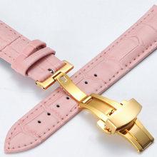 Ремешок для часов из натуральной кожи, универсальный ремешок для часов 18, 20 мм, стальной ремешок с застежкой-бабочкой и пряжкой для мужчин и ...(Китай)