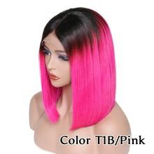 Розовый парик из человеческих волос, бразильский парик Remy Bob, кружевной передний парик, оранжевый красный светильник, фиолетовый цвет, цвет ...(Китай)