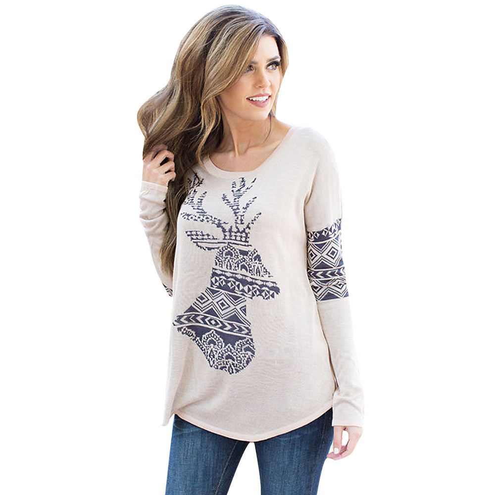 75d83ef97a Wholesale-Fashion Womens Elk Deer Printing T Shirt Femme Splice Long Sleeve  Women Tops Poleras Muje #0