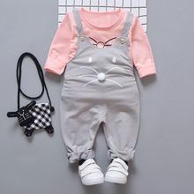Комплект весенней одежды для новорожденных девочек, модный костюм, футболка и штаны, верхняя одежда для маленьких девочек, спортивный костю...(Китай)