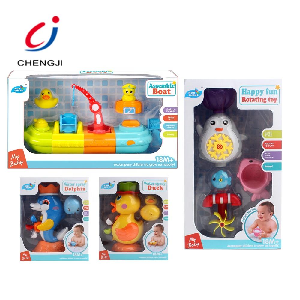 Eco-friendly cartoon plastic bathroom play set bath toy boat