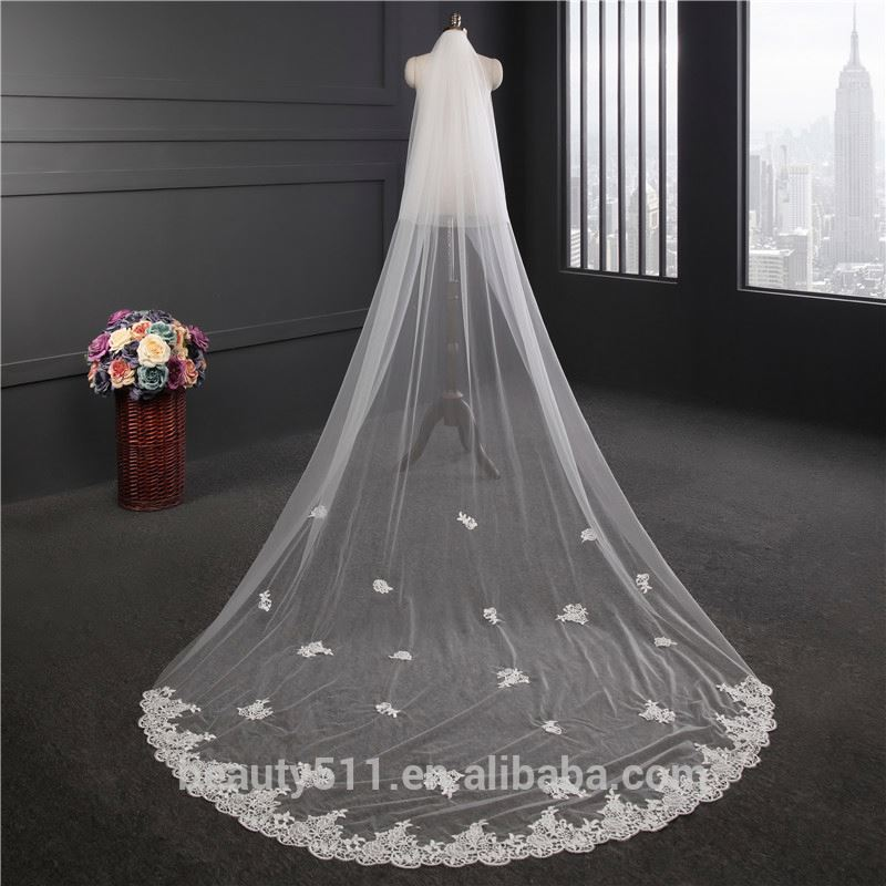 2021 Hot Sale Long Lace Wedding Dresses Bridal Veil long Tulle handmade beads emboied lace wedding veils