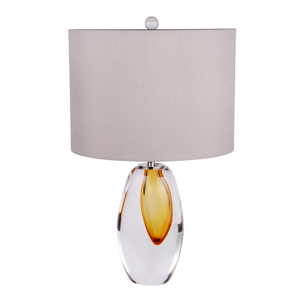 Уникальный дизайн, настольная лампа из хрустального стекла ручной работы в Янтарном цвете с серым абажуром, настольные лампы из муранского стекла для спальни