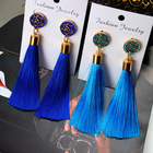 Fashion Gold Rose flower Metal Long Fan Tassel Drop Earrings For Women NS8062896