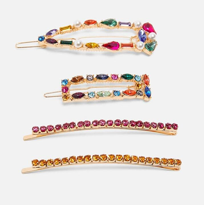 Party Girls Women Letter Hairpins Crystal Clips Hair Combs Pins Barrettes
