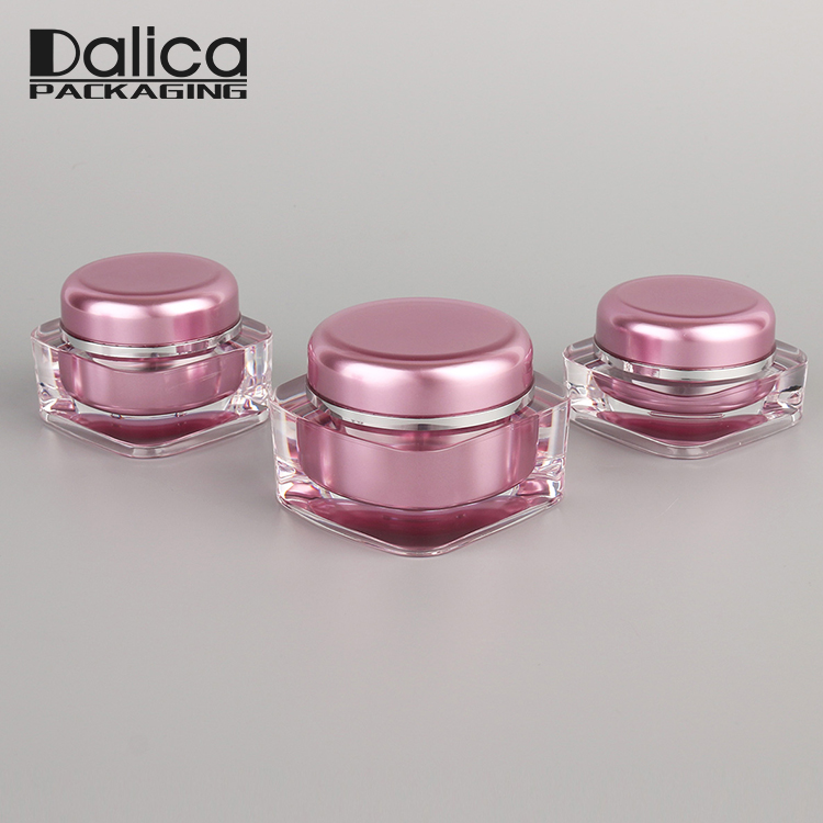 Wholesale pink elegant cosmetic 15g 30g square plastic jar