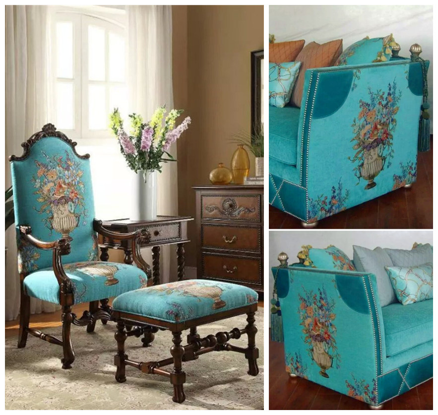 Upholstery Furniture Fabric: 2016 Luxurious American Style Floral Bouquet Design