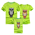 PSEEWE Children Clothing Family Matching Outfits Owl Printed Summer Casual T shirt Father Son Mother daughter
