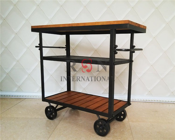 American Iron Wooden Tea Trolley Moving Wine Cabinet Small