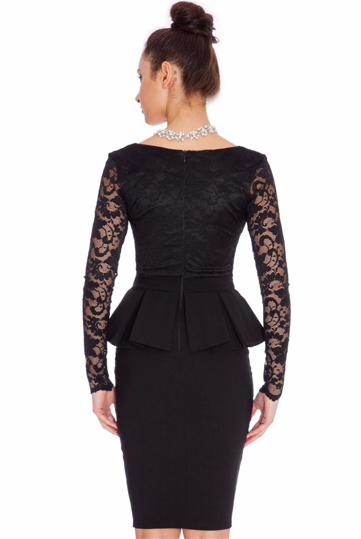 Nem065 Long Sleeve Peplum Dress Deep V Neck Sexy Lace
