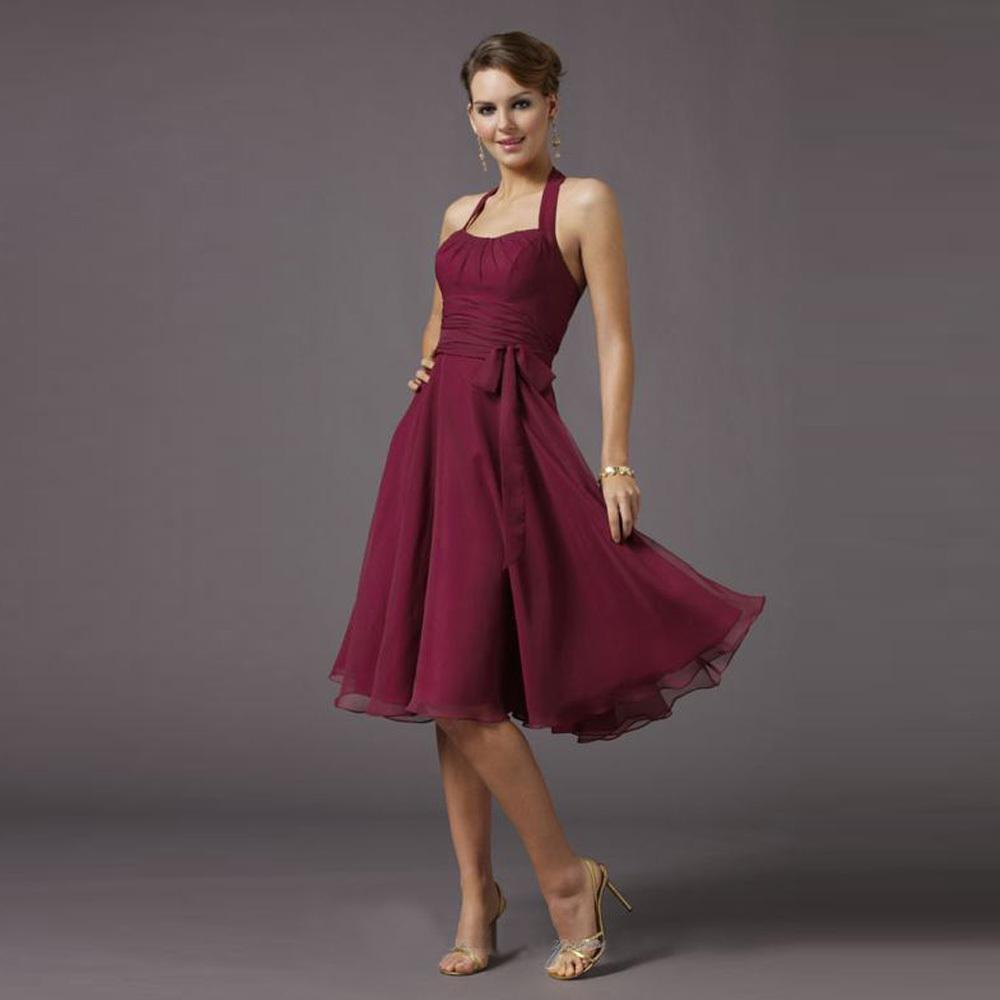 Cheap Wine Red Short Bridesmaid Dresses 2016 Knee Length