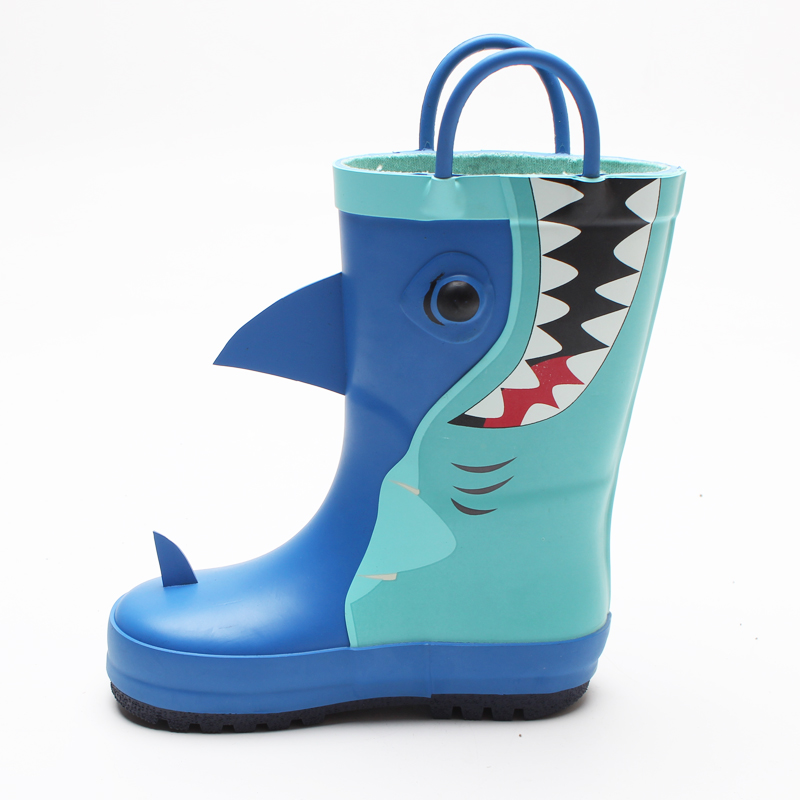 Fashionable Design Patch Animal Pattern Shark Rain Shoes for Kids