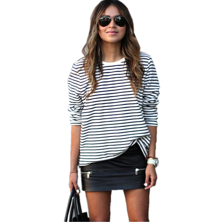 2016 autumn long sleeve tshirt women black and white striped t shirt femme casual o neck tshirts. Black Bedroom Furniture Sets. Home Design Ideas