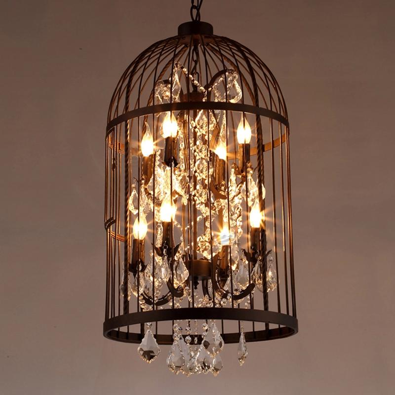 bird cage wrought iron rust color loft vintage crystal chandelier lustre de cristal home. Black Bedroom Furniture Sets. Home Design Ideas
