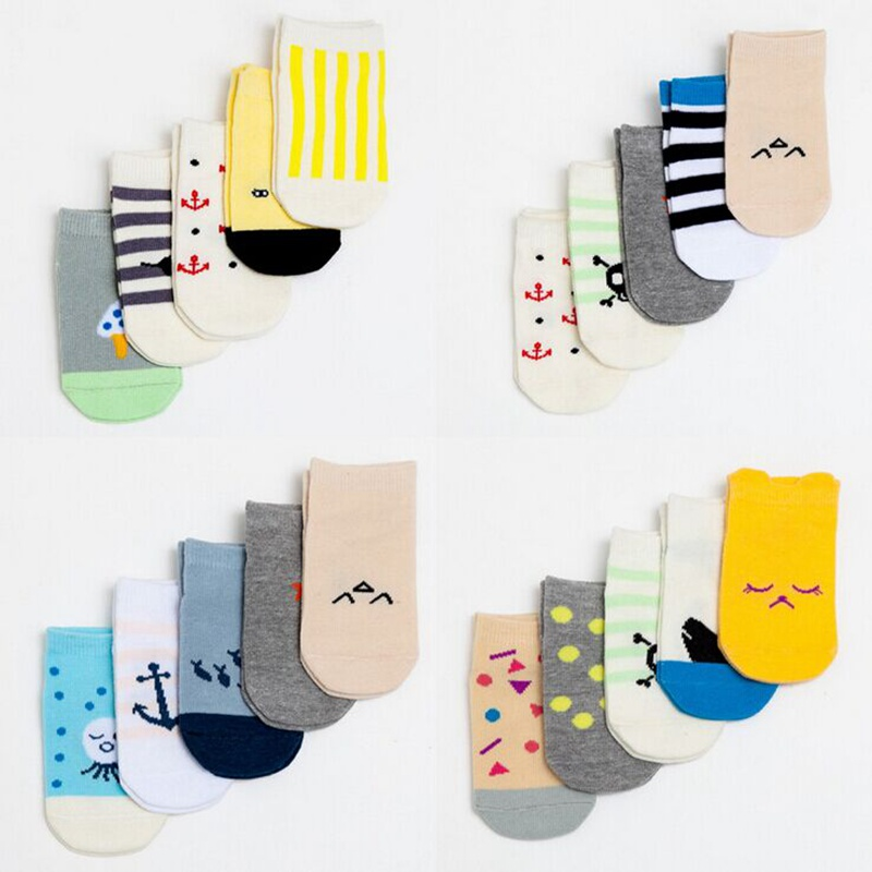 New Arrival Baby Boy Girl Socks 5 pairs lot 100 Cotton Unisex Cartoon Character Meias 3