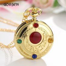 Милые Роскошные золотые аниме Сейлор Мун карманные часы с цепочкой модные Fob часы ожерелье кулон подарки для девочки Relogio De Bolso(Китай)