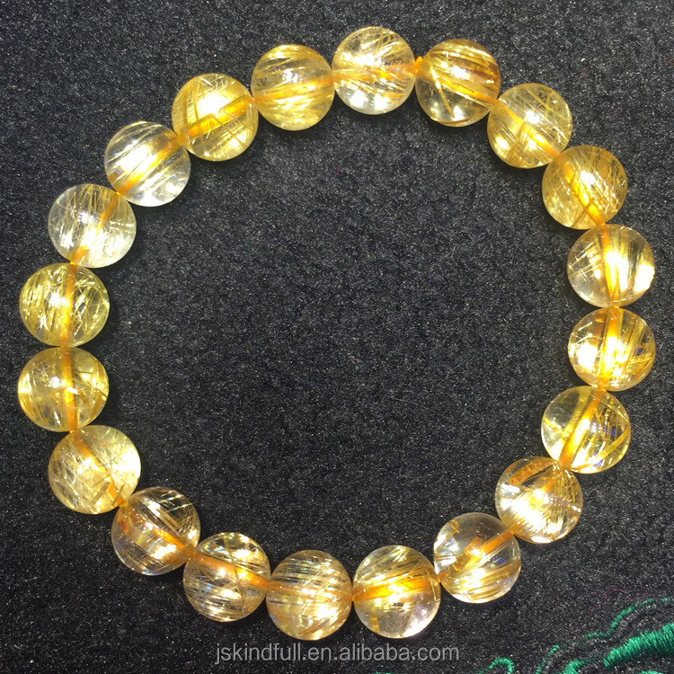 Wholesale Natural High Quality Different Size Crystal  Gold Rutilated Quartz Healing Bracelets For Gifts
