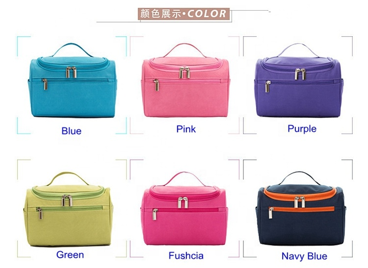 Durable Polyester Functional Hanging Fashion Zippered Portable Large Travel Toiletry Bag
