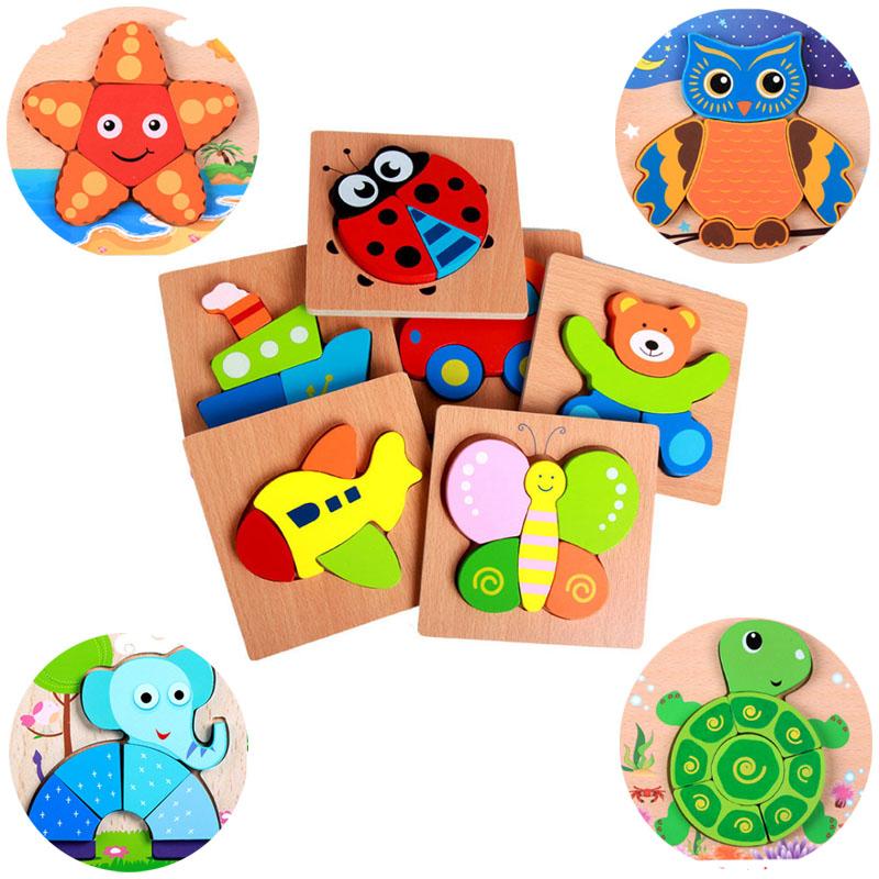 Деревянные игрушки Обучающие Для детей животные мультфильм 3D головоломки деревянные головоломки